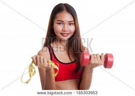 Beautiful Asian Healthy Girl With Dumbbell And Measuring Tape.