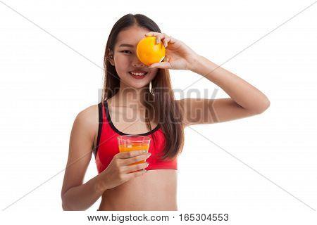 Beautiful Asian Healthy Girl With Orange Juice And Orange Fruit.