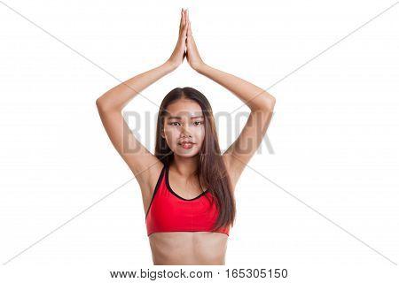 Beautiful Asian Healthy Girl Do Yoga Pose.