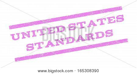 United States Standards watermark stamp. Text tag between parallel lines with grunge design style. Rubber seal stamp with unclean texture. Vector violet color ink imprint on a white background.