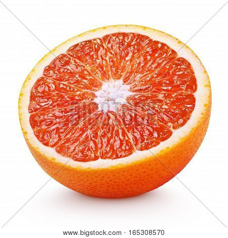 Half Of Blood Red Orange Citrus Fruit Isolated On White