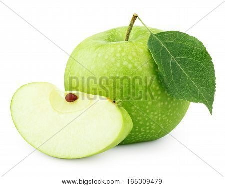 Green Apple With Leaf And Slice Isolated On White