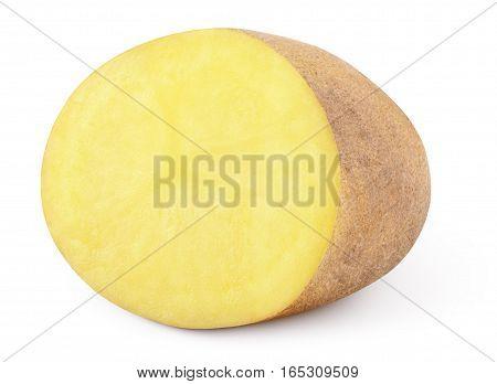 Half Of Potato Isolated On White