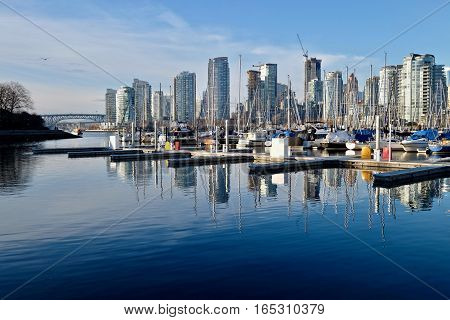 City marina and city harbor. Heather Civic Marina. Granville Bridge. Downtown Vancover. British Columbia. Canada.