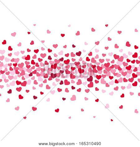Romance red hearts flow pattern. Holiday decoration for valentines day. Vector background
