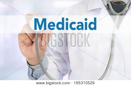 Medical insurance and Medicaid and stethoscope. alternative, background, billing,