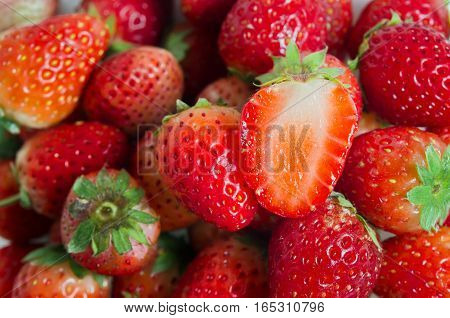 Strawberry fruit with flash filled (Other names are Fragaria strawberry Fragaria ananassa berry)