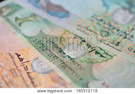 Background of the UAE Dirhams close up