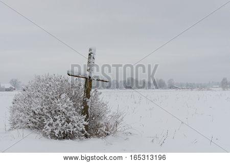 Old Weathered Wooden Catholic Cross