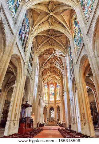 Brussels, Belgium - July 07, 2016 :interior St-gervais-et-st-protais Church Of Paris, Located In The