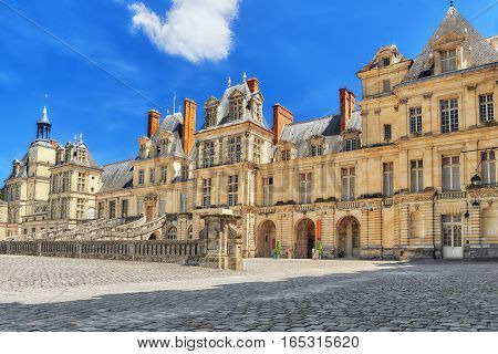 Fontainebleau, France - July 09, 2016 : Suburban Residence Of The France Kings - Facade Beautiful Ch