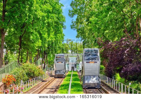 Funicular Of Montmartre, Which Lifts To The Temple Of The Sacre Coeur. Paris. France.
