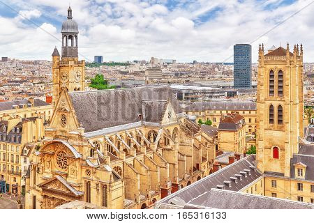 Beautiful Panoramic View Of Paris From The Roof Of The Pantheon. View On Church Of Saint-etienne-du-