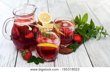 Glasses Of Lemonade With Strawberries