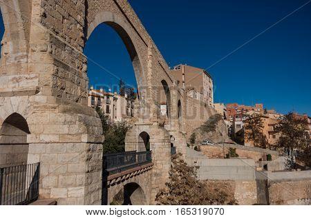 Los Arcos Aqueduct In Old Town. Teruel, Aragon, Spain