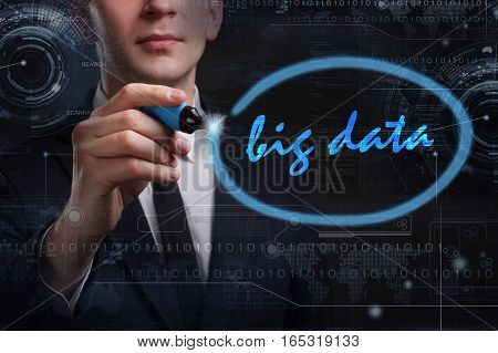 Business, Technology, Internet And Network Concept. Young Business Man Writing Word: Big Data