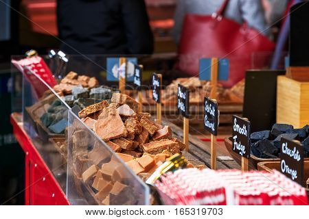 Sea Salt Caramel, Fudge And Other Sweets On Display