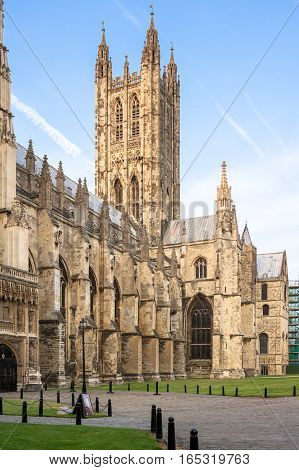 Canterbury Cathedral into the summer sunset. Canterbury Kent UK. It is one of the most famous cathedrals in England.