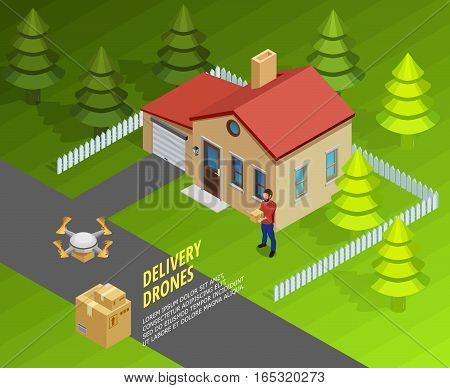Drones delivery isometric template with logistic futuristic method of post and cargo transportation vector illustration