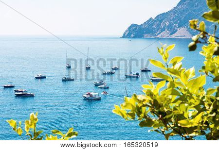 Sailboats and yachts moored in calm lagoon in Italy
