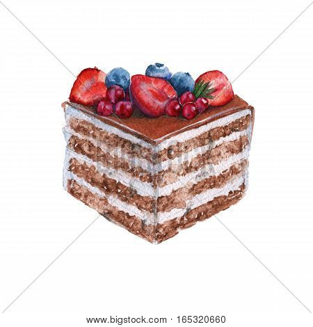Chocolate piece of cake. With the berries. Isolated on a white background. Watercolor illustration.