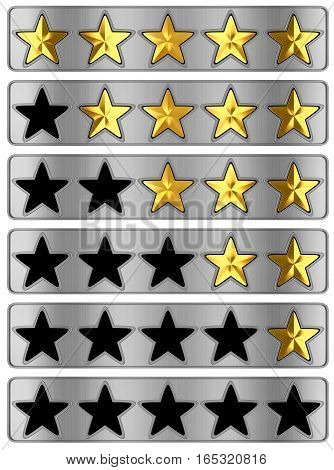 Gold Star rating on white background. 3d illustration