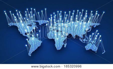 World-wide web on blue background. 3d illustration
