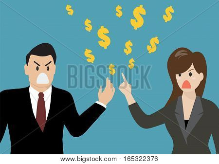 Business people having a quarrel about money. vector illustration