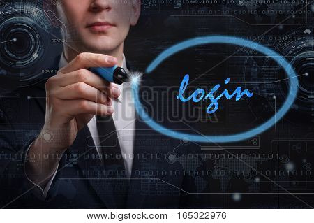 Business, Technology, Internet And Network Concept. Young Business Man Writing Word: Login
