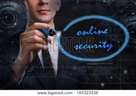 Business, Technology, Internet And Network Concept. Young Business Man Writing Word: Online Security