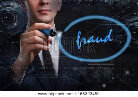 Business, Technology, Internet And Network Concept. Young Business Man Writing Word: Fraud