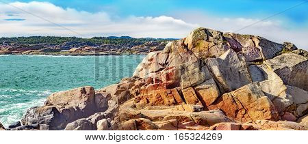Seascape With  And Colorful Rocks