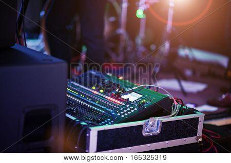 Digital Mixing Console. Sound Mixer Control Panel, Closeup Of Audio Faders.