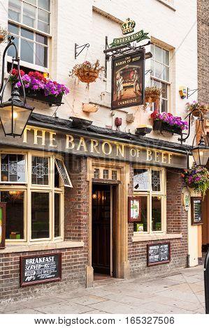 Cambridge Cambridgeshire United Kingdom - June 24 2006: The Baron of Beef pub sitting on Bridge street is a traditional english pub.