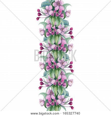 Festive garland with cherry blossom. Isolated on white background. watercolor illustration.