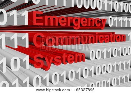 Emergency communication system in the form of binary code, 3D illustration