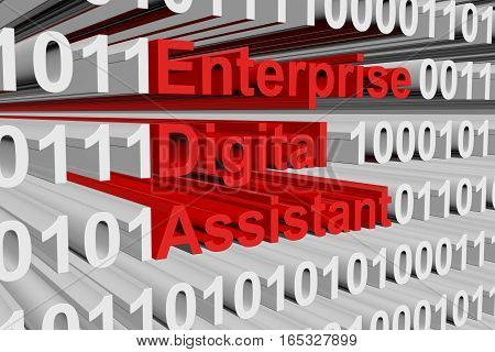 enterprise digital assistant in the form of binary code, 3D illustration