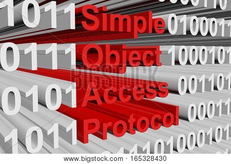 simple object access protocol in the form of binary code, 3D illustration