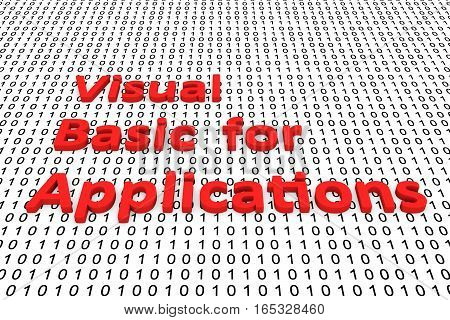 visual basic for applications as binary code 3D illustration