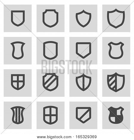 Vector line shield icons set on grey background