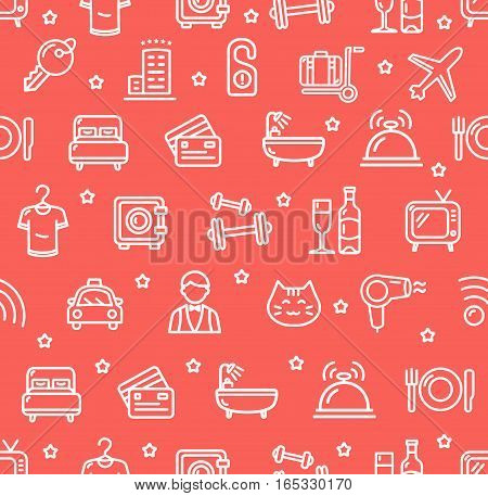 Hotel Room, Restaurant and Reception Service Background Pattern on Red. Vector illustration
