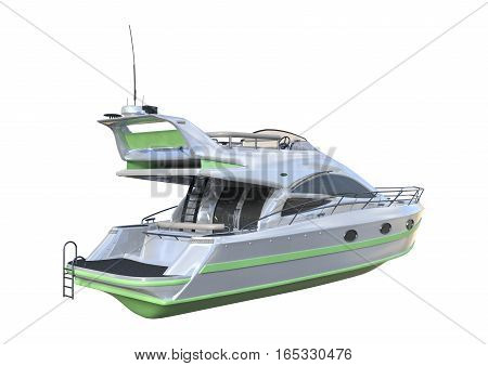 3D Rendering Yacht On White