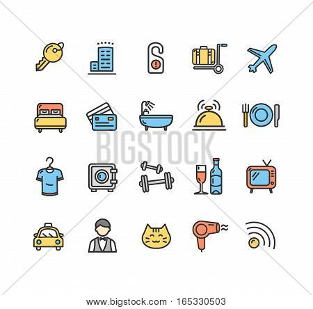 Hotel Service Color Icon Thin Line Set Pixel Perfect Art. Material Design for Web and App. Vector illustration