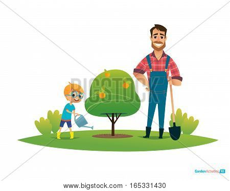 Cartoon characters, smiling father and son in rubber boots and with gardening tools plant apple tree in garden. Parental education and involvement concept. Vector illustration for poster, banner, ad.