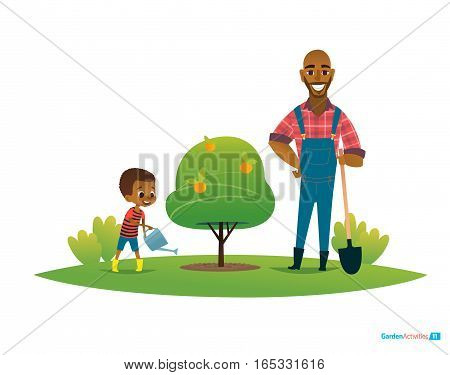 Dad and son in fruit garden, boy in gumboots water apple tree with watering can and father stand by with shovel. Children s environmental education concept. Vector illustration for poster, website.