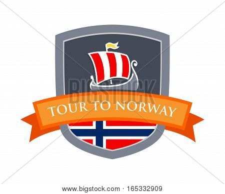 Badge Coat of Arms with Drakkar Illustration and Flag of Norway. Ribbon with Caption 'Tour To Norway'. Illustration to Travel Company in Scandinavia.