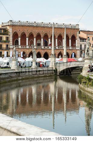 PADUA, ITALY - MAY 3, 2016: Lodge Amulea in the Great piazza of Prato della Valle also known as Ca' Duodo Palazzo Zacco in Padua Italy