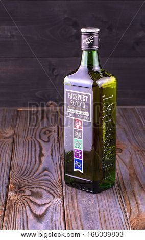 Chisinau Moldova 13 January 2017: Passport Scotch blended whisky isolated on white. Passport Scotch is a brand of whisky exported from Scotland by Seagram Distillers currently owned by Pernod Ricard.