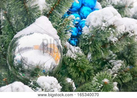 PETERHOF, SAINT - PETERSBURG, RUSSIA - JANUARY 15, 2017: Reflection of The Grand Palace in the Christmas ball on the tree. The State Museum Preserve Peterhof. The Upper garden in winter period.