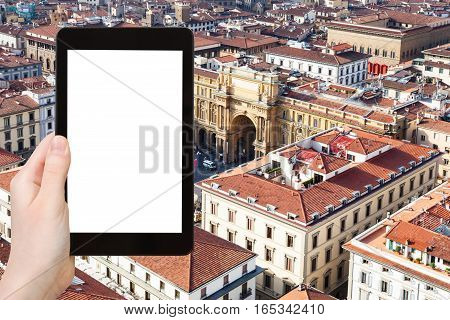 Tourist Photographs Square In Florence City